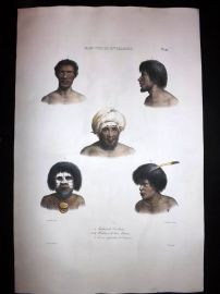 d'Urville 1835 Folio Hand Col Print. Natives of New Ireland, Papua New Guinea